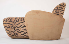 A Mid Century Sofa/Chaise in Suede Leather and Tiger Fabric