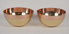 Pair of Unusual Brass & Copper Overlay Bowls