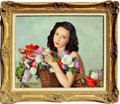 MAURICE-AMBROISE EHLINGER – AN ARMFUL OF SPRING FLOWERS – CIRCA 1940
