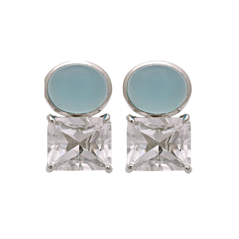 Earrings-Crystal and Chalcedony