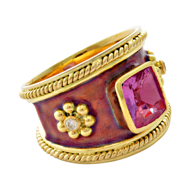 Ring-Pink Sapphire and Diamond (Enamel)