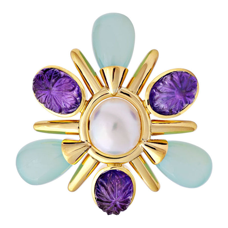 Brooch -Amethyst, Chalcedony and South Sea Pearl