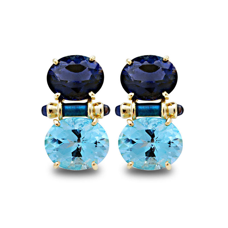 Earrings-Iolite and Blue Topaz (Enamel)