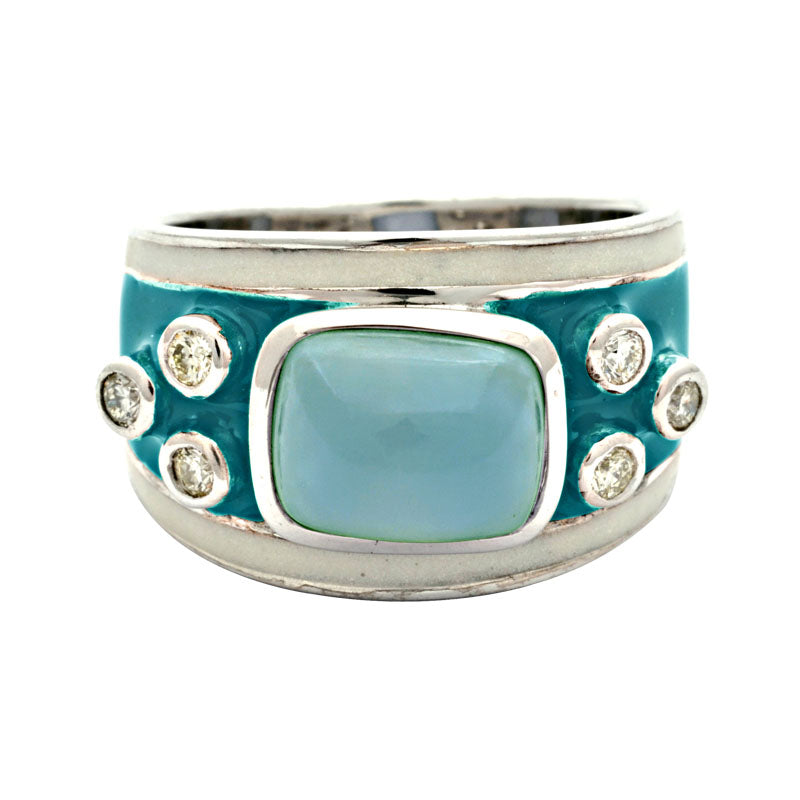 Ring- Chalcedony and Diamond (Enamel)