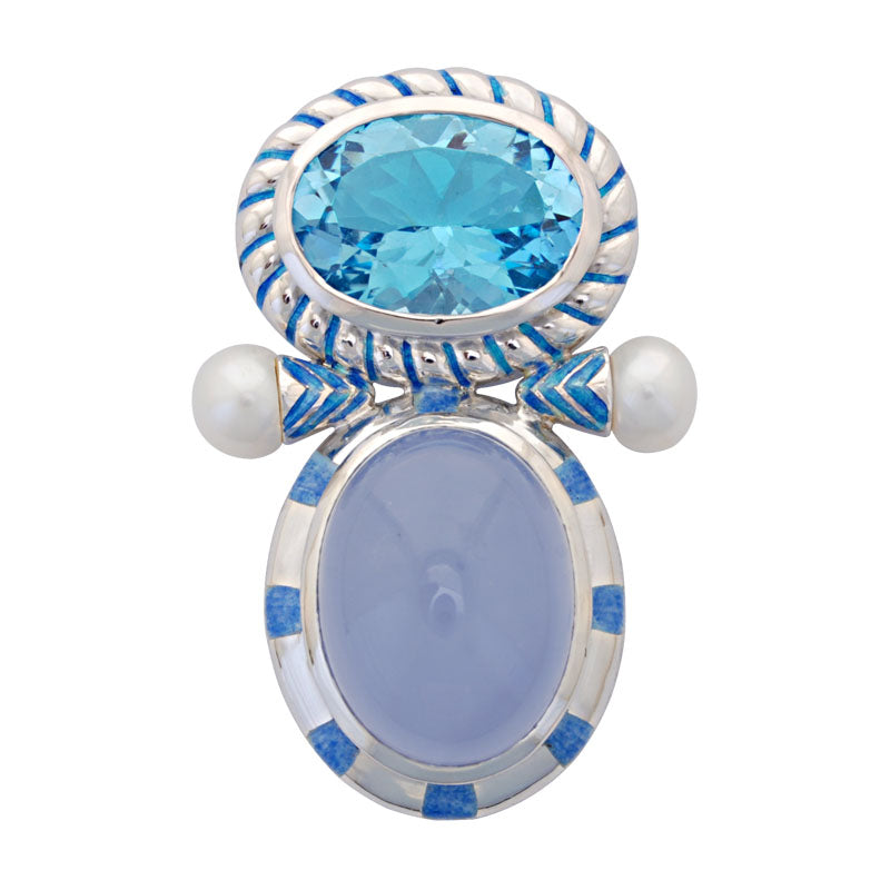 Brooch-Blue Topaz, Chalcedony and Pearl (Enamel)