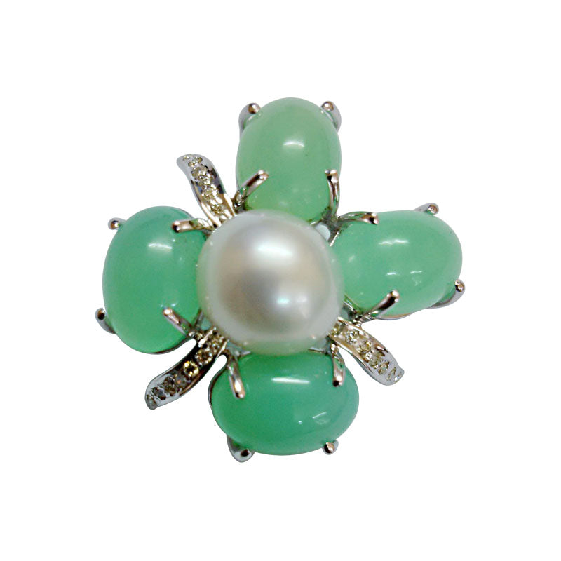 Brooch-Chrysoprase, Pearl and Diamond