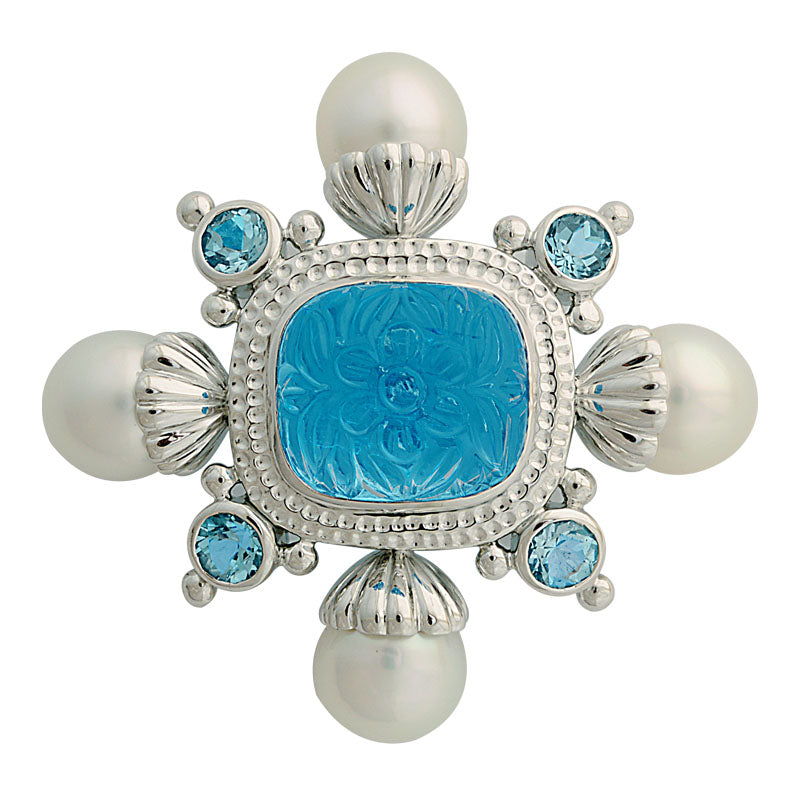 Brooch-Blue Topaz and South Sea Pearl