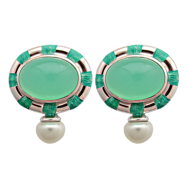 Earrings-Chrysoprase and Fresh Water Pearl (Enamel)