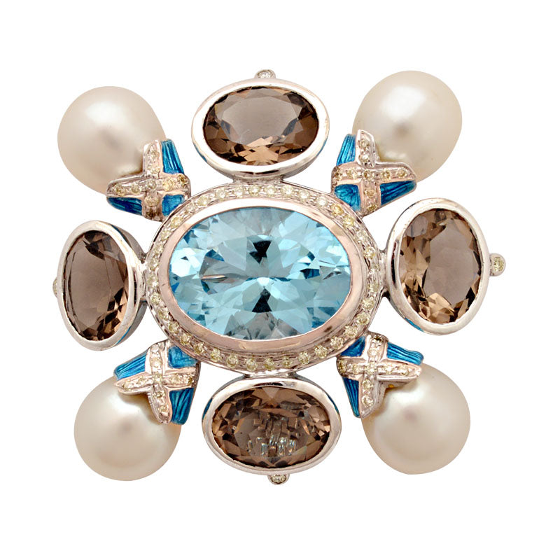 Brooch-Blue Topaz, Smokey Quartz, South Sea Pearl and Diamond (Enamel)