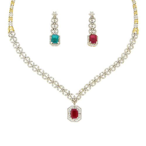 Ruby and Emerald Diamond Necklace Set
