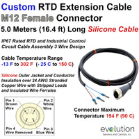 Custom RTD M12 Connector Extension Cable Assembly Molded Female Connector with 5 meters Silicone Wire with Stripped Leads and Insulated Wire Ferrules