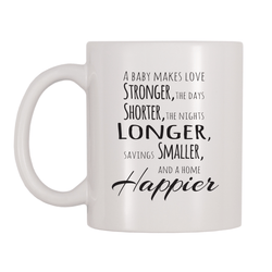 A Baby Makes Love Stronger, The Days Shorter, The Nights Longer, Savings Smaller And A Home Happier 11oz Coffee Mug
