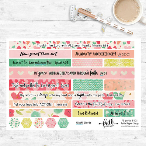 Washi Words - Scripture Stickers - Hearts