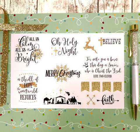 Christmas Stickers - Gold Glitter
