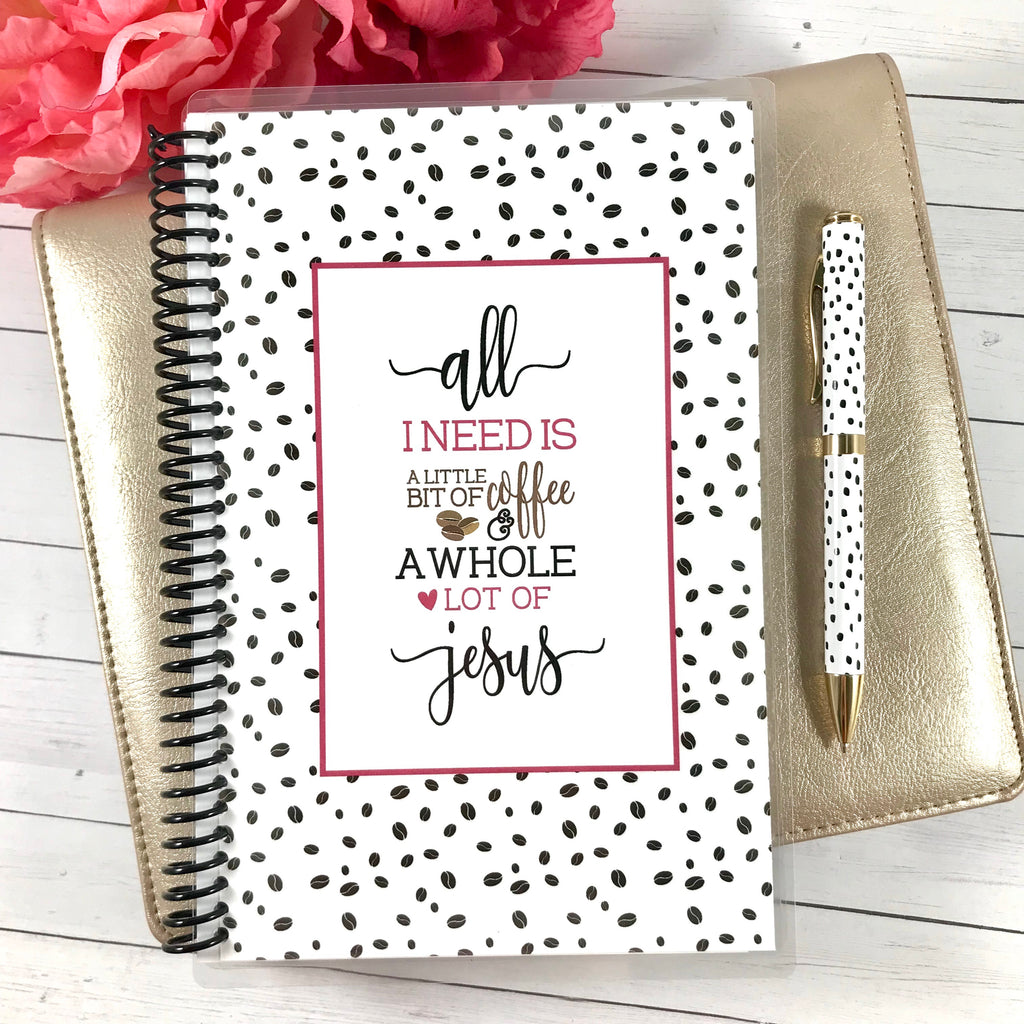 ladies custom faith journal with coffee and jesus quote