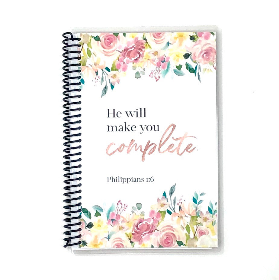 womens custom faith journal with watercolor flowers