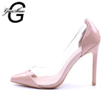 Womens Pumps Transparent 11cm High Heels Sexy Pointed Toe Slip-on Wedding Party Shoes