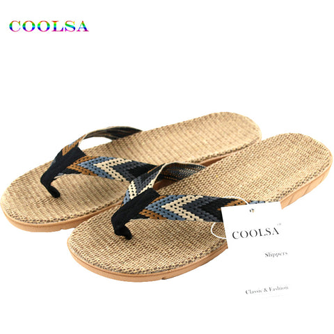 Mens Summer Linen Flip Flop Striped Ribbon Sandals Flat EVA Non-Slip Linen Slides