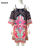 Womens Boho Chic Sundress Floral Wrap Beach Tunic Loose Shoulder Strap Dress