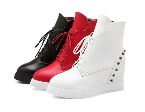 Womens Trendy Studded Wedge Sneaker Boots