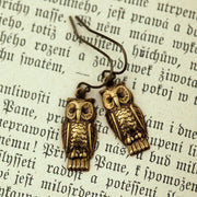 Brass Retro Owl Earrings