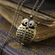 Owl Watch Necklace in Brass