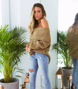 Reece Off-Shoulder Knit - Khaki - MW Boutique