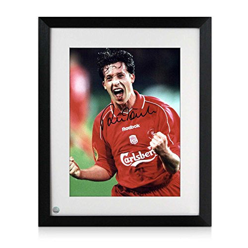 Framed Robbie Fowler Signed Liverpool UEFA Cup Celebration Photo