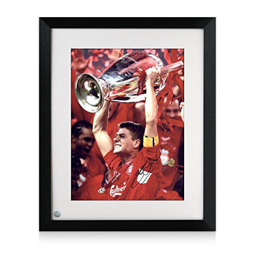 Framed Steven Gerrard Signed Liverpool Champions League Photo: We've Won It Five Times