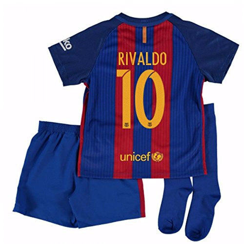 2016-17 Barcelona Home Little Boys Mini Kit (With Sponsor) (Rivaldo 10)