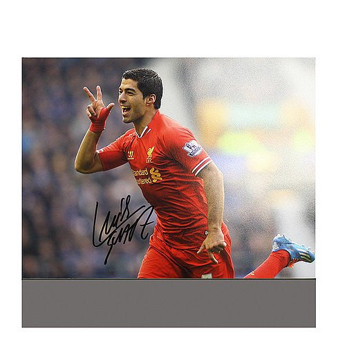 Luis Suarez Autographed Liverpool 16x12 Photo: Trademark Celebration -  Authentic Signed Autograph