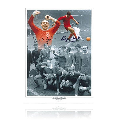 Liverpool 1965 FA Cup montage print signed by Ian St John and Roger Hunt - Autographed Soccer Photos