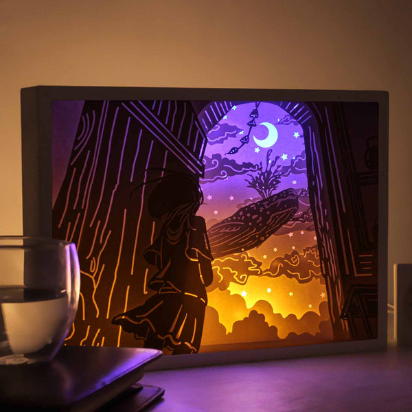 Papercut Light Boxes - Song of the sea - the girl and the whale