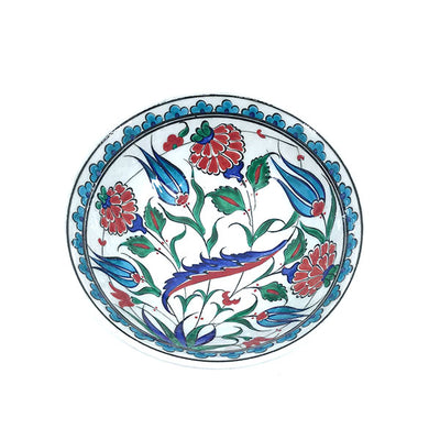 Iznik ceramic bowl with turquoise tulips and roses