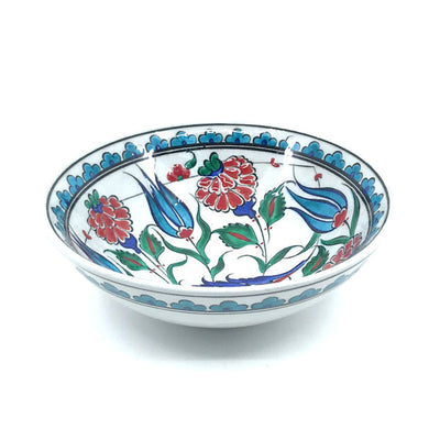 Iznik bowl with turquoise tulips and roses