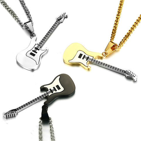 Men Quality Stainless Steel Necklace Fashion Guitar Pendant Necklace Silver Black Gold Colors Punk 60cm Chain Necklace