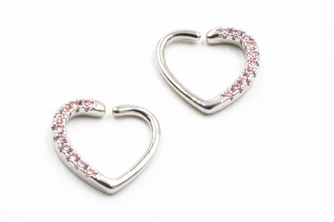 20pcs/lot ping Silver/Gold Punk Open Hoop Heart Shape Nose Ring Earring Diath/Helix/Cartliage Body Jewelry