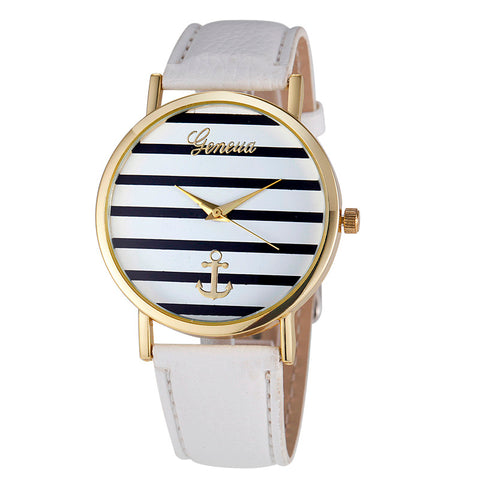 Vico Hot Sale Women Striped Anchor Analog Leather Anchor Ladies watches women luxury brand bayan kol saati relogio feminino