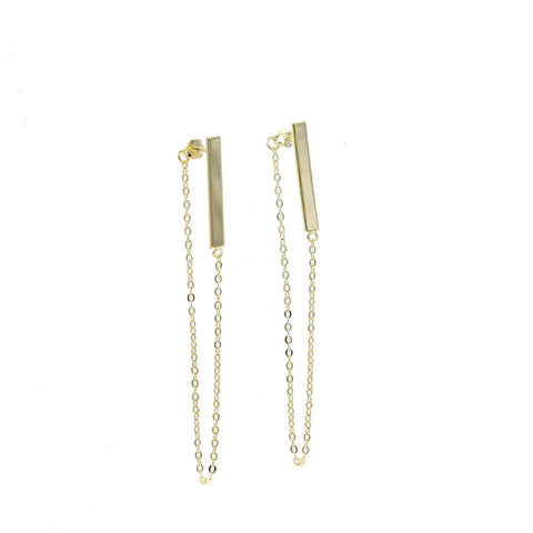 Fashion Earings Jewlery New Brief Contemporary Minimalist Bar 925 silver Stud Earrings For Women Gold Long chain link Earrings