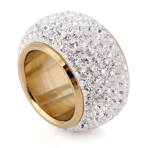 Wholesale shining full rhinestone finger rings for woman luxurious paragraph new antique gold-color