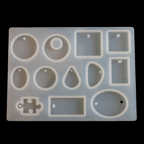 12 Designs DIY Resin Jewelry Silicone Cabochon Mold Jewelry Casting Mould Craft Tools