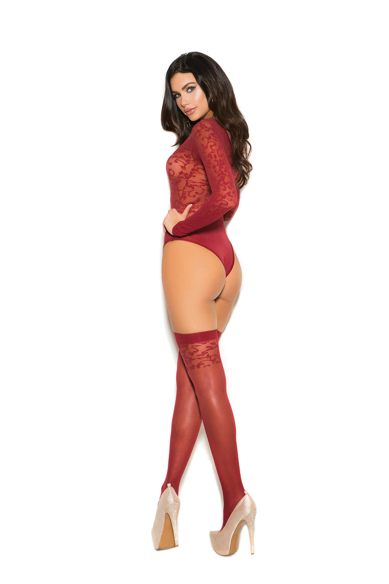 Sheer Long Sleeve Teddy Lingerie