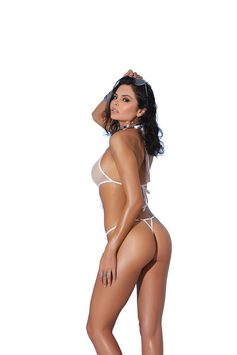 White Fishnet Thong Monokini