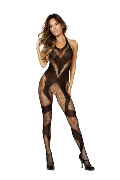 Semi See Through Crotchless Black Bodystocking