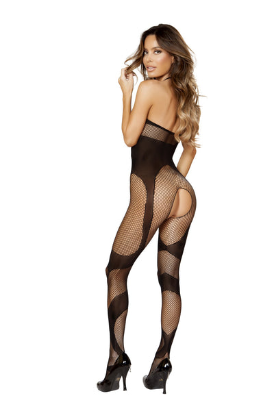 Semi See Through Crotchless Bodystocking in Black