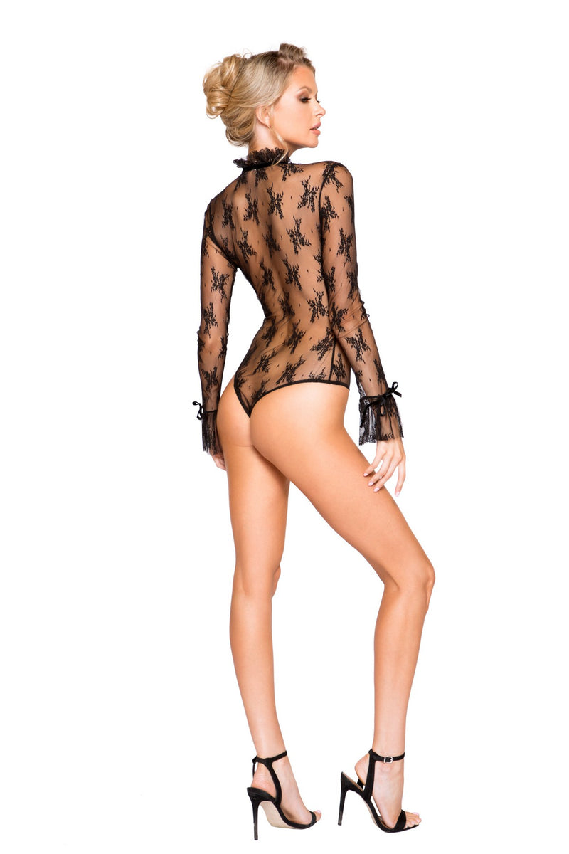 Elegant Long Sleeve See Through Teddy