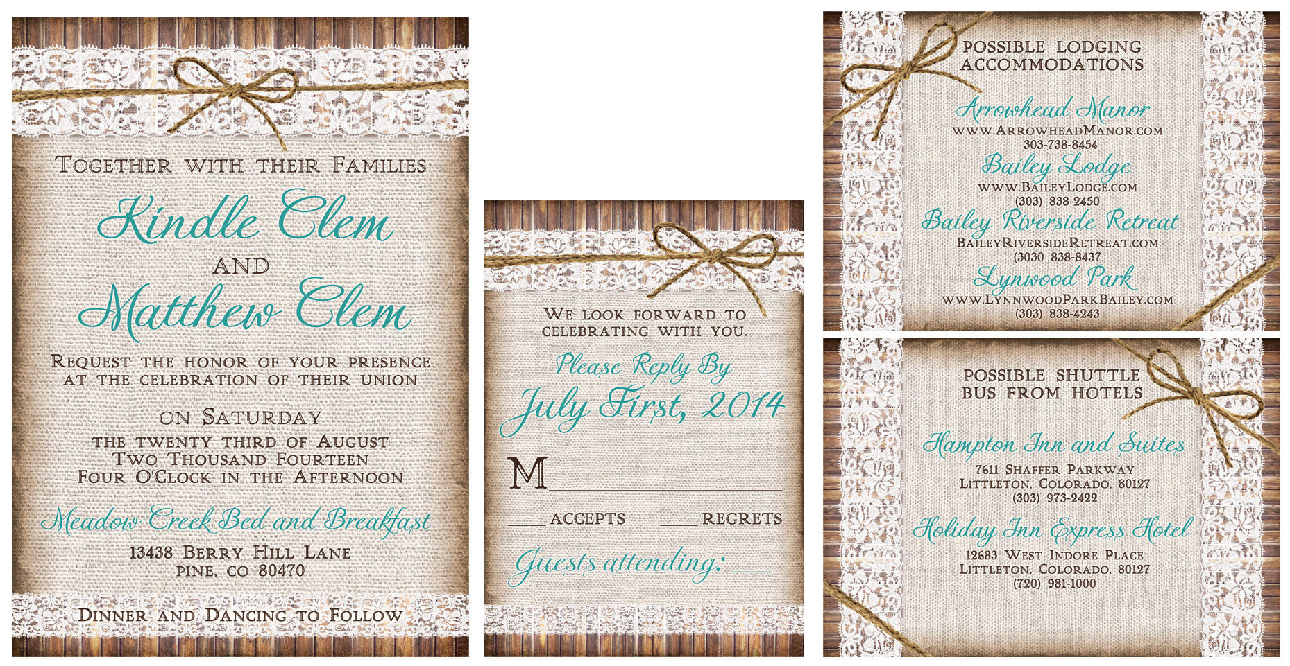 The Lovely Linen and Lace Invitation Set