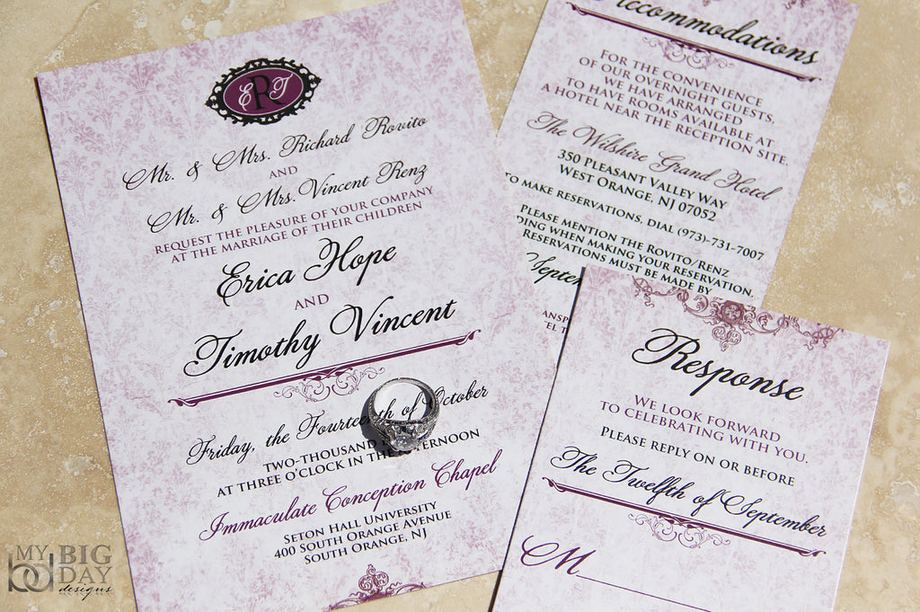 Victorian Damask Invitation Set