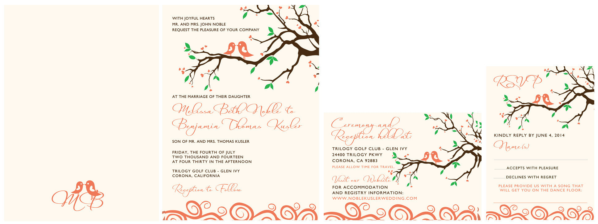 The Illustrated Lovebirds Invitation Set