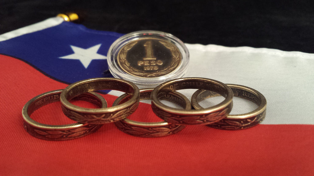 Chile 1 Peso Bronze Coin Rings
